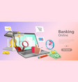 3d concept mobile banking vector image vector image
