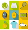Active tennis icons set flat style vector image vector image