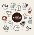 animal icon set collection of hand draw animal ic vector image