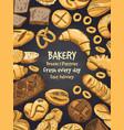 bakery foods on black chalkboard vector image