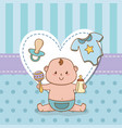 bashower card with little boy baby vector image
