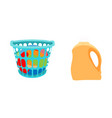 basket with linens and bottle of detergent vector image vector image