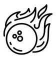bowling fire ball icon outline style vector image