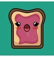 bread jam kawaii toast design vector image