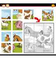 cartoon farm animals jigsaw puzzle vector image vector image