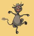 cartoon funny horny gray devil fun jumping vector image