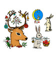 christmas deer and animal with flowers vector image