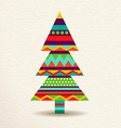 Christmas tree in colorful geometric art style vector image vector image