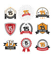 collection of retro fifteen anniversary logo set vector image