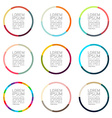 Color circle sector badges set vector image vector image
