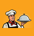 cook chef with tray in retro pop art style vector image