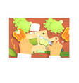cooking of salad hands working on food preparation vector image vector image
