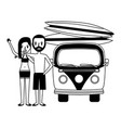 Couple with van and surfboards isolated icon