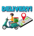 delivery logo with bike man or courier vector image vector image