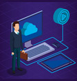 digital technology with business person isometric vector image
