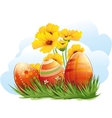 easter eggs with flowers and grass vector image vector image