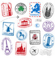 europe stamps vector image vector image