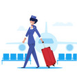 flight attendant in background an airplane flat vector image