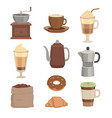 for cafe various cups and vector image