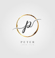 gold elegant initial letter type p vector image vector image
