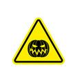 halloween warning sign yellow masquerade hazard vector image vector image