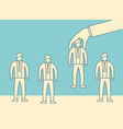 hand choosing man from selected people group vector image vector image
