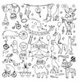 Hand drawn circus set vector image
