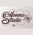 hand drawn decorated lettering henna studio with vector image