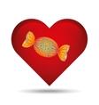 heart cartoon candy sweetand blue dots icon design vector image vector image