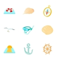 Holiday by sea icons set cartoon style vector image vector image