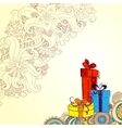 Holiday card with three gift boxes with bows on vector image vector image