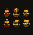 hot dog logo or label fast food set of icons vector image