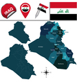 Iraq map with named divisions vector image vector image