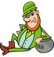 leprechaun with pot of gold cartoon vector image