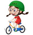 little girl riding bike with helmet on vector image