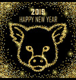 luxury golden glitter pig sign vector image