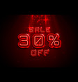 neon frame 30 off text banner night sign board vector image vector image