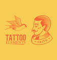 old school tattoo man and swallow on a yellow vector image