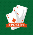 poker cards casino game banner ribbon vector image vector image