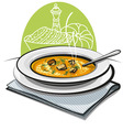 pumpkin soup with croutons vector image vector image