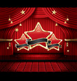 red stage curtain with three stars seats and copy vector image vector image