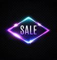 sale neon banner glowing electric rhombus border vector image vector image