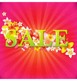 Sale Poster With Flowers And Sunburst vector image vector image