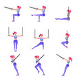 set of woman doing different exercises with vector image vector image