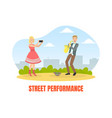 street performance male street musician playing vector image vector image
