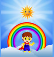 superhero boy and skies on the rainbow vector image