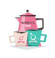 tea pot with mugs womens day 8 march holiday