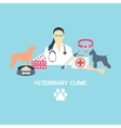 Veterinary clinic banner with dog and laboratory vector image vector image