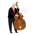vrtuoso contrabassist man player jazz contrabass vector image vector image
