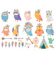 wild tribal owl cartoon owls with tribals vector image vector image